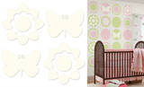 Ivory White Butterfly and Flower Silhouettes Wall Decal Sticker Wall Decal