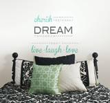 Cherish Dream Live Wall Decal Sticker Quote - Duvar Çıkartması