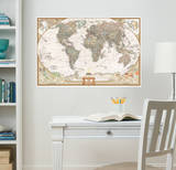 National Geographic World Map Executive Wall Decal Sticker Decalques de parede