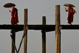 One Monk Photographs Another Crossing the U Bein Bridge Photographic Print by Greg Davis