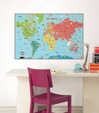 Kids World Map Wall Decal Sticker Adesivo de parede