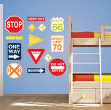 Road Signs Wall Art Decal Kit Decalques de parede