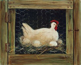 Auf dem Nest sitzende Henne Poster von Glenda Brown