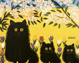 Three Black Cats Posters by Maud Lewis