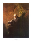 Philosopher Reading Print by Rembrandt van Rijn
