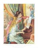 Muchachas tocando el piano Lámina por Pierre-Auguste Renoir