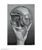 Hand with Globe Plakater af M. C. Escher