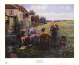 Sewing Circle Poster by Daniel Ridgway Knight
