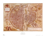 Map of Paris 1585 Affischer av Georges Braun