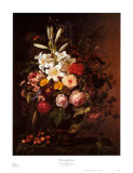 Flowers and Cherries Posters by Johan Laurentz Jensen