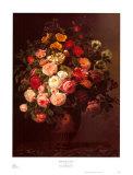 Rosa Rosen in einer Vase Kunstdruck von Johan Laurentz Jensen