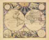 New World Map, c.1676 Art by Pieter Goos