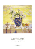 White Roses Kunstdruck von Del Gish