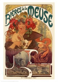 Bieres de La Meuse Print by Alphonse Mucha
