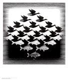 Lucht en water Posters van M. C. Escher
