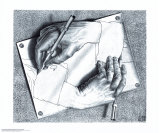 Mains dessinant Poster par M. C. Escher