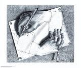 Mãos Desenhando Pôsteres por M. C. Escher