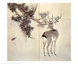 Deer Pine and Bat Poster von Keibun & Toyo Toyohiko