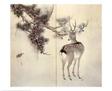 Deer Pine and Bat Prints by Keibun &amp; Toyo Toyohiko