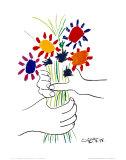 Blumenstrauß in der Hand Poster von Pablo Picasso