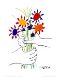 Mano con flores Lmina por Pablo Picasso