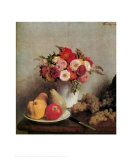 Still Life with Flowers and Fruits Print by Henri Fantin-Latour