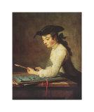 Young Man Sharpening Pencil Plakater af Jean-Baptiste Simeon Chardin
