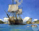 HMS Trusty in English Harbor Art by Geoff Hunt