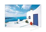 Blue Door with Red Pot Plakater af George Meis
