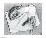 Drawing Hands 高品質プリント : M. C. エッシャー(マウリッツ・コルネリス・エッシャー)