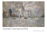 Les Barques, Regates a Argenteuil Plakater af Claude Monet