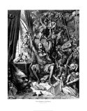Don Quichotte dans sa bibliothèque Poster par Gustave Doré