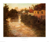 Village on the Bank of a Stream Prints by Fritz Thaulow