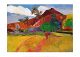 Paysage tahitien Affiches par Paul Gauguin