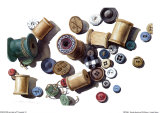Wooden Spools and Old Buttons Posters by Carolyn Watson
