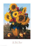 Sunflowers over Castle Ruin Prints by Joe Anna Arnett