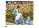 Camille Monet & Child in Artists Garden Print by Claude Monet