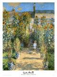 Il giardino e la casa di Monet a Vétheuil, 1881 Stampe di Claude Monet