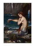 sirena, Una|Mermaid, A, 1900 Lámina por John William Waterhouse