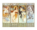 De seizoenen Poster van Alphonse Mucha