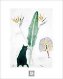 Black Cat and Strelitzia Poster by Elizabeth Blackadder
