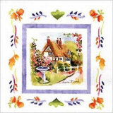 Cottage and Fountain Print by Andrea Brooks