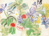 Mohnblumen mit Schwertlilie Kunstdruck von Raoul Dufy