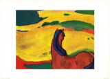 Pferd in Landschaft Print by Franz Marc