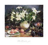 Lilies and Peaches Print by Del Gish
