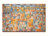 Barrio de los templos de Pert, 1928 Póster por Paul Klee