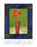 Orange Flowers on Green Poster by Hussey