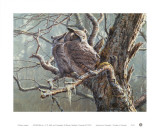 Silent Forest (Great Horned Owls) Schilderij van Pierre Leduc