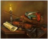 Stilleben mit Geige Schilderij van Elisabeth Paetz-Kalich