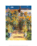 Le jardin de l&#39;artiste &#224; V&#233;theuil Poster par Claude Monet